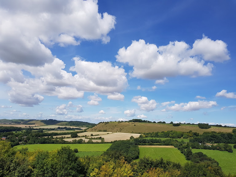 Blue skies and clouds on a summers day in Dorset