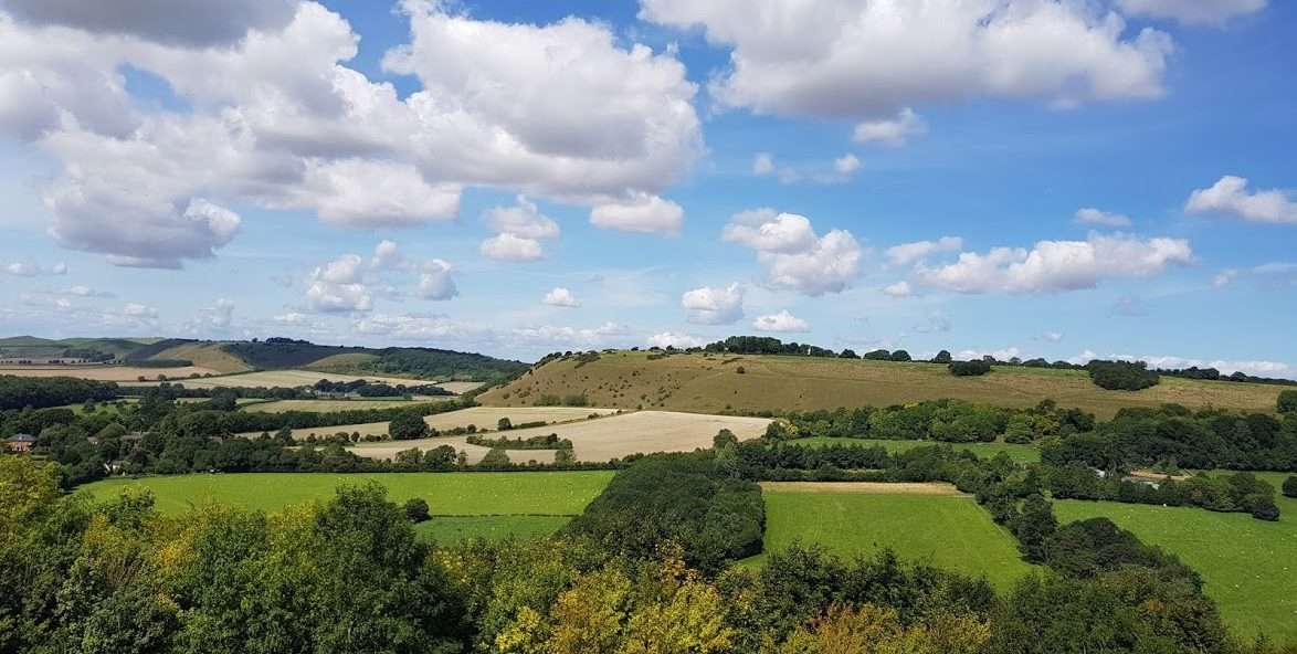View across countryside